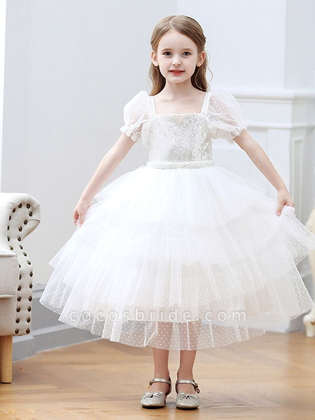 Princess / Ball Gown Tea Length Wedding / Party Flower Girl Dresses - Tulle Short Sleeve Square Neck With Cascading Ruffles