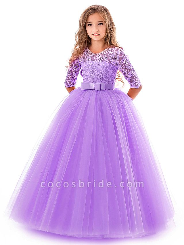 Princess Long Length Wedding / Party / Pageant Flower Girl Dresses - Lace / Tulle Half Sleeve Jewel Neck With Lace / Belt / Bow(S)