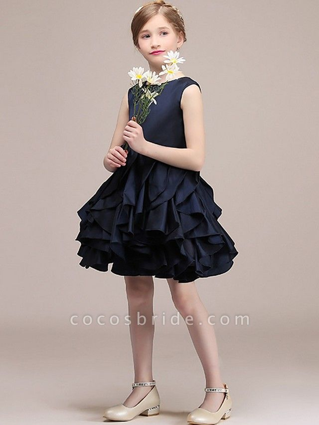 A-Line Round Short / Mini Satin Junior Bridesmaid Dress With Tier / Cascading Ruffles