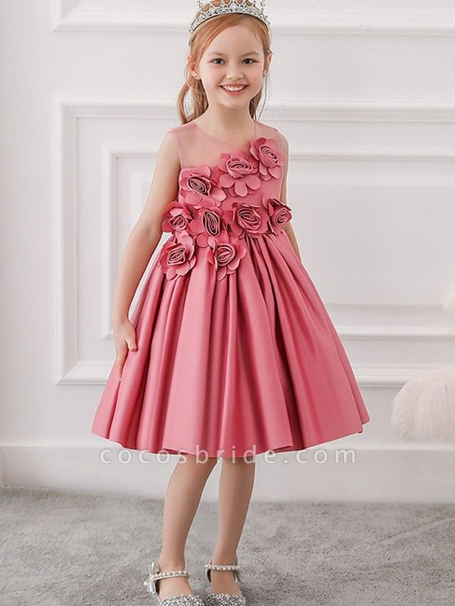 Princess / Ball Gown Knee Length Wedding / Party Flower Girl Dresses - Tulle Sleeveless Jewel Neck With Bow(S) / Pleats / Flower