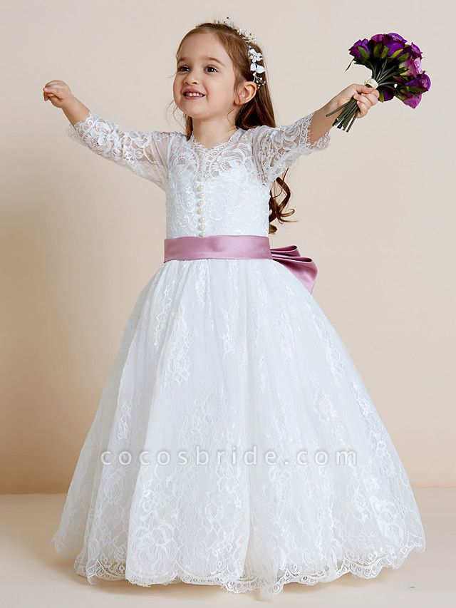 Ball Gown Floor Length Wedding / First Communion Flower Girl Dresses - Lace / Tulle Long Sleeve V Neck With Lace / Sash / Ribbon / Bow(S)