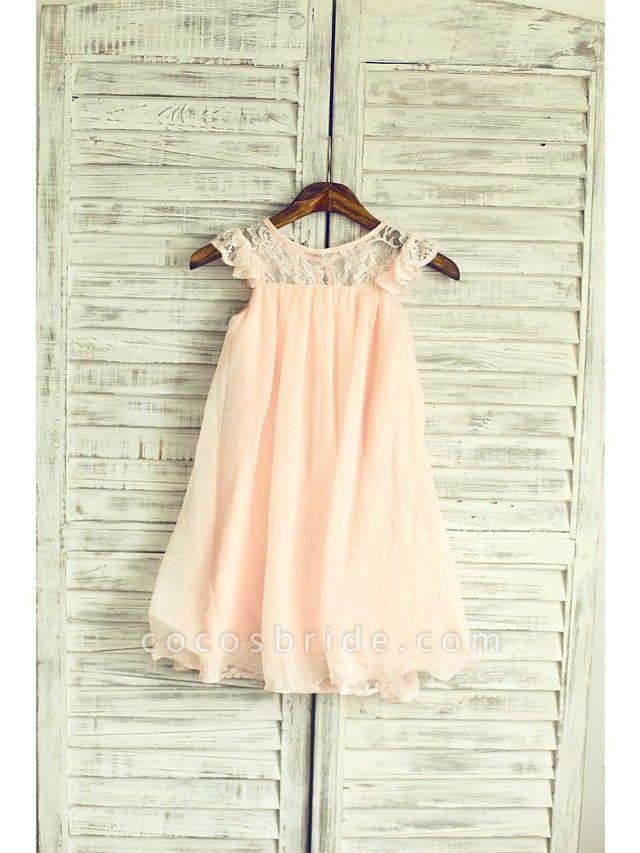 A-Line Tea Length Holiday Flower Girl Dresses - Chiffon / Lace Sleeveless Jewel Neck With Lace / Pleats