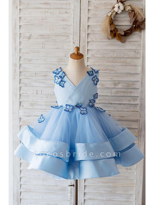 Ball Gown Knee Length Wedding / Birthday Flower Girl Dresses - Satin / Tulle Sleeveless V Neck With Butterfly Design