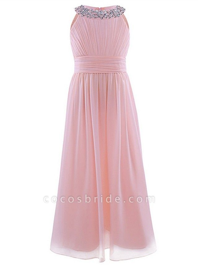 A-Line Round Floor Length Chiffon / Sequined Junior Bridesmaid Dress With Beading / Ruching