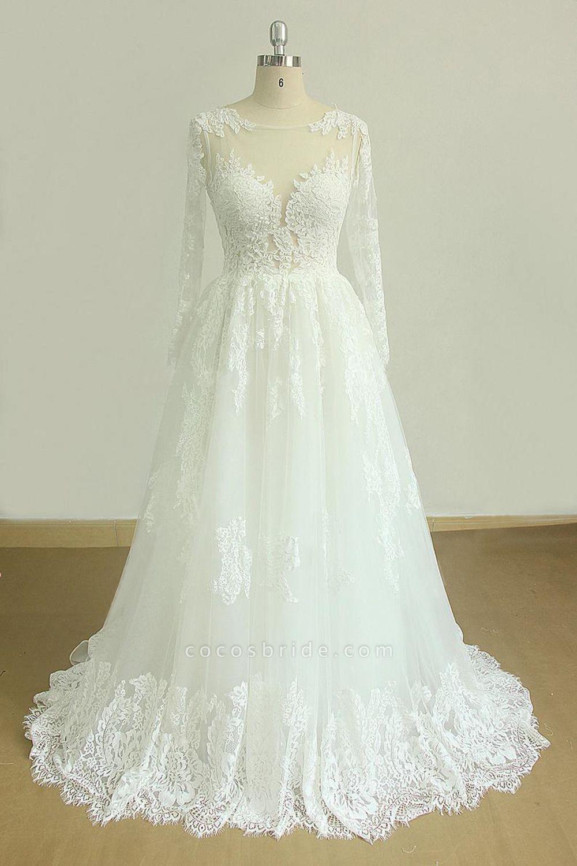 SD1963 Long Sleeve Appliques Jewel Ball Gown Wedding Dress