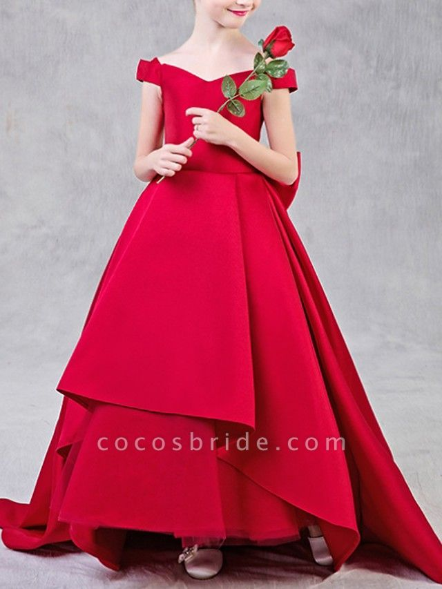 Ball Gown Sweep / Brush Train Pageant Flower Girl Dresses - Polyester Short Sleeve Off Shoulder With Bow(S)