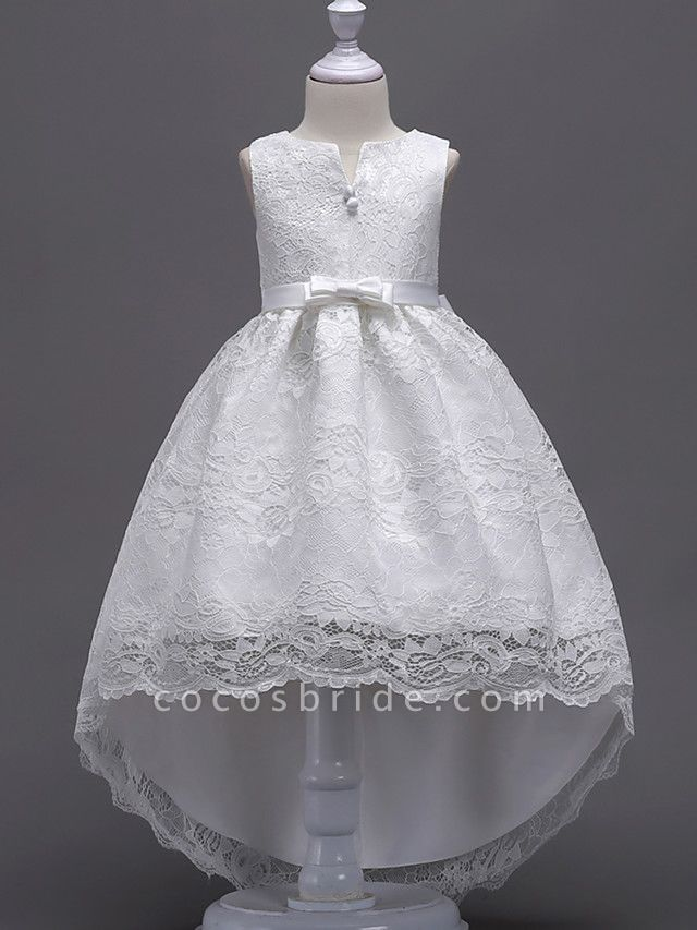 Princess Midi / Asymmetrical Wedding / First Communion / Birthday Flower Girl Dresses - Lace Sleeveless V Wire With Lace / Bow(S) / Embroidery