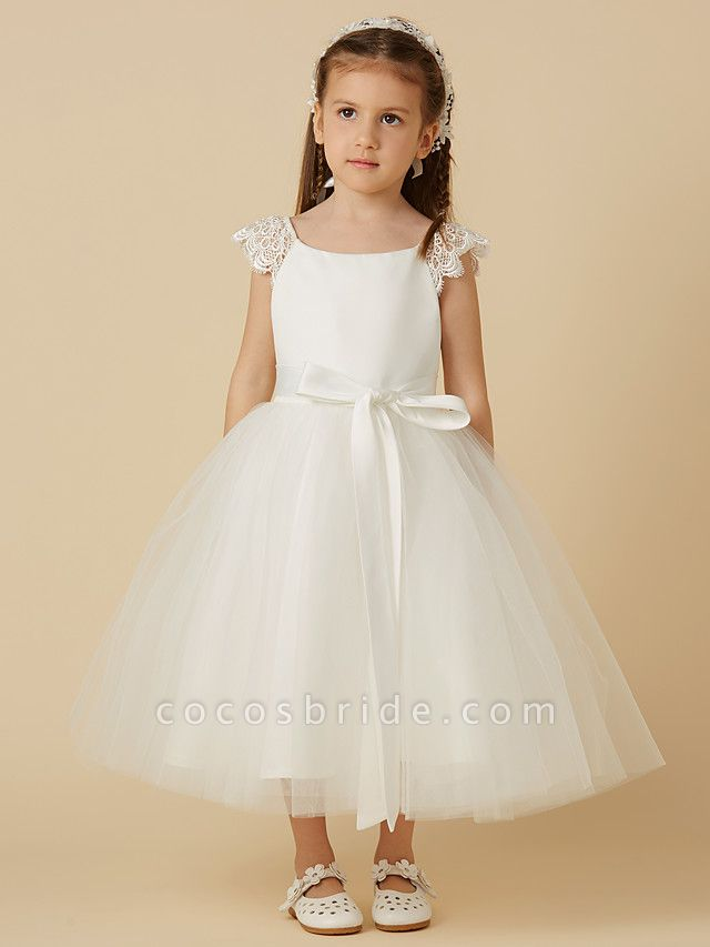 Princess Tea Length Wedding / First Communion Flower Girl Dresses - Lace / Satin / Tulle Short Sleeve Scoop Neck With Sash / Ribbon / Bow(S)