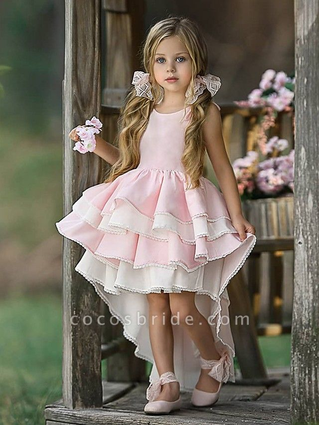 Ball Gown Asymmetrical Wedding / Party Flower Girl Dresses - Tulle Long Sleeve Jewel Neck With Tier / Solid