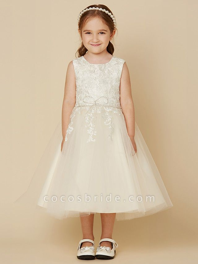 A-Line Knee Length Wedding / First Communion Lace / Tulle Sleeveless Jewel Neck With Beading / Appliques