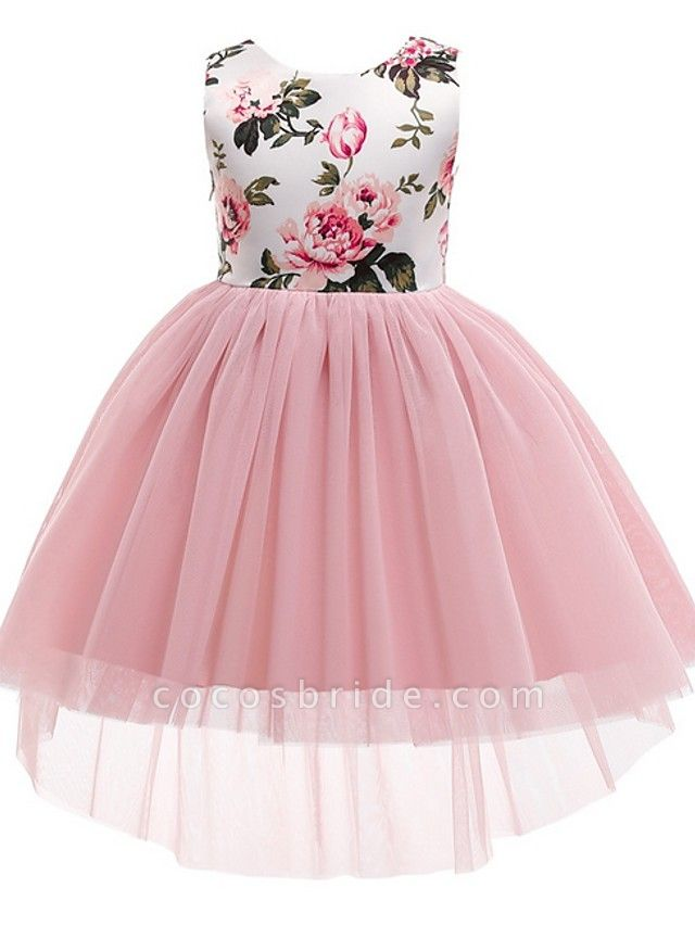 Princess / Ball Gown Asymmetrical Wedding / Party Flower Girl Dresses - Tulle / Mikado Sleeveless Jewel Neck With Bow(S) / Pattern / Print