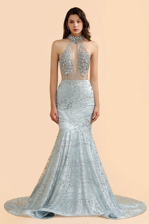 Precious Halter Sequined Mermaid Prom Dress