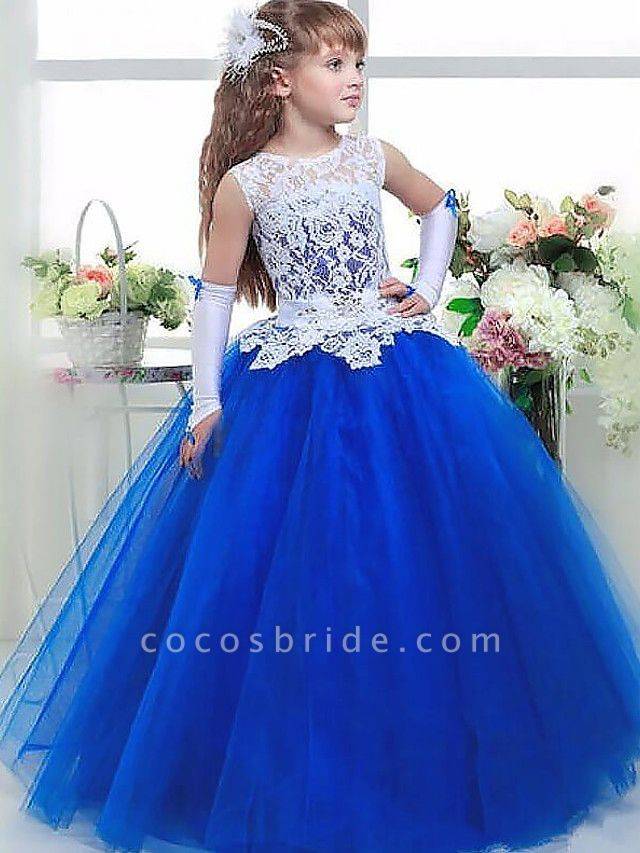 Ball Gown Floor Length Wedding / Party Flower Girl Dresses - Lace / Satin / Taffeta Sleeveless Jewel Neck With Tier / Appliques