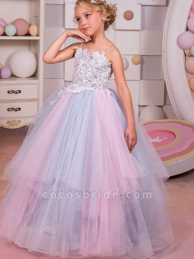 Ball Gown Floor Length Event / Party / Formal Evening Flower Girl Dresses - Polyester Sleeveless Spaghetti Strap With Tier / Appliques
