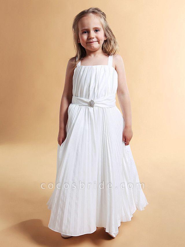A-Line Square Floor-Length Taffeta Flower Girl Dress