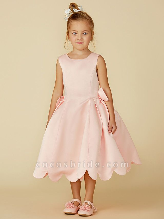 Ball Gown Tea Length Pageant Flower Girl Dresses - Satin Sleeveless Jewel Neck With Bow(S)