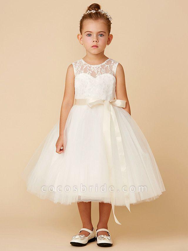 Princess Tea Length Wedding / First Communion Flower Girl Dresses - Lace / Tulle Sleeveless Jewel Neck With Sash / Ribbon / Bow(S)