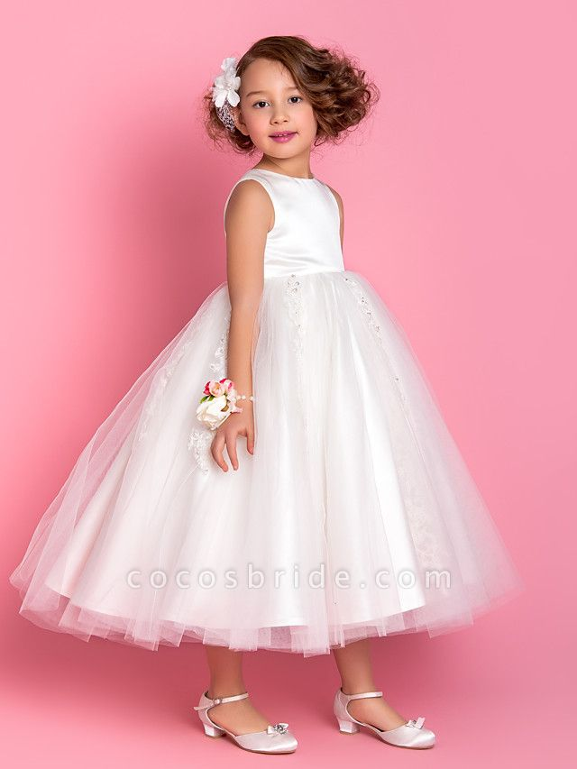 Princess / A-Line Tea Length Wedding / First Communion Flower Girl Dresses - Satin / Tulle Sleeveless Jewel Neck With Beading / Appliques / Spring / Summer / Fall / Winter