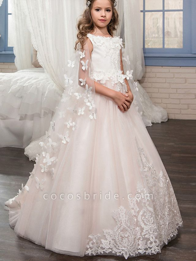 Princess Floor Length Wedding / Birthday / Pageant Flower Girl Dresses - Tulle Sleeveless Boat Neck With Lace / Appliques