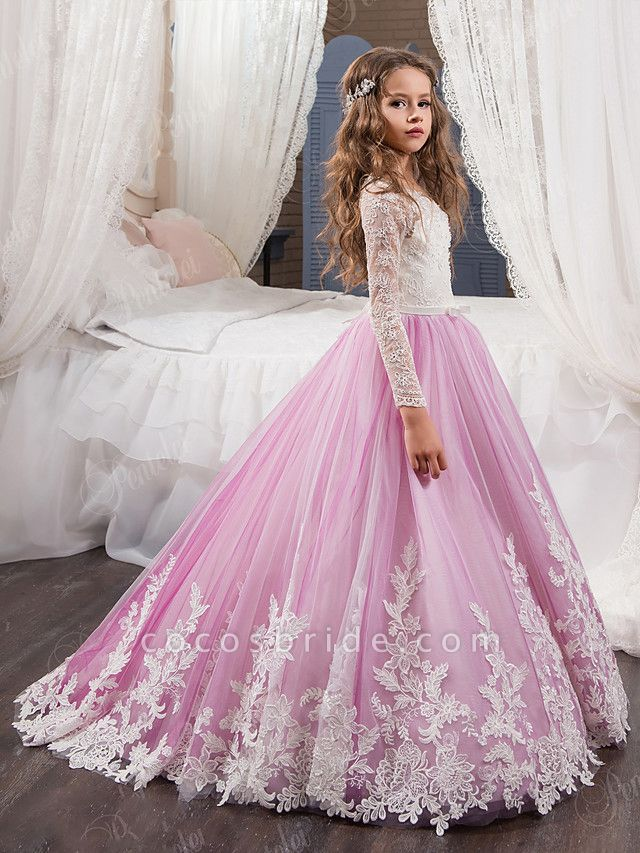 Ball Gown Sweep / Brush Train Wedding / Birthday / Pageant Flower Girl Dresses - Lace / Tulle / Cotton Long Sleeve Jewel Neck With Lace / Beading / Appliques