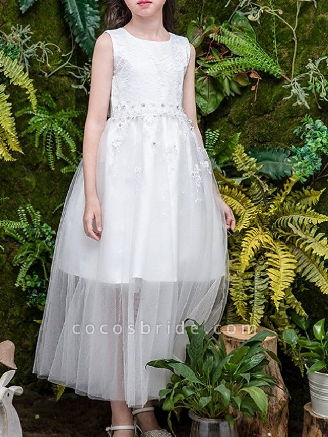 A-Line Jewel Neck Ankle Length Poly&Cotton Blend Junior Bridesmaid Dress With Embroidery