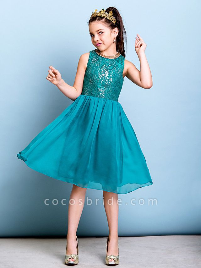 A-Line Jewel Neck Knee Length Chiffon / Sequined Junior Bridesmaid Dress With Sequin