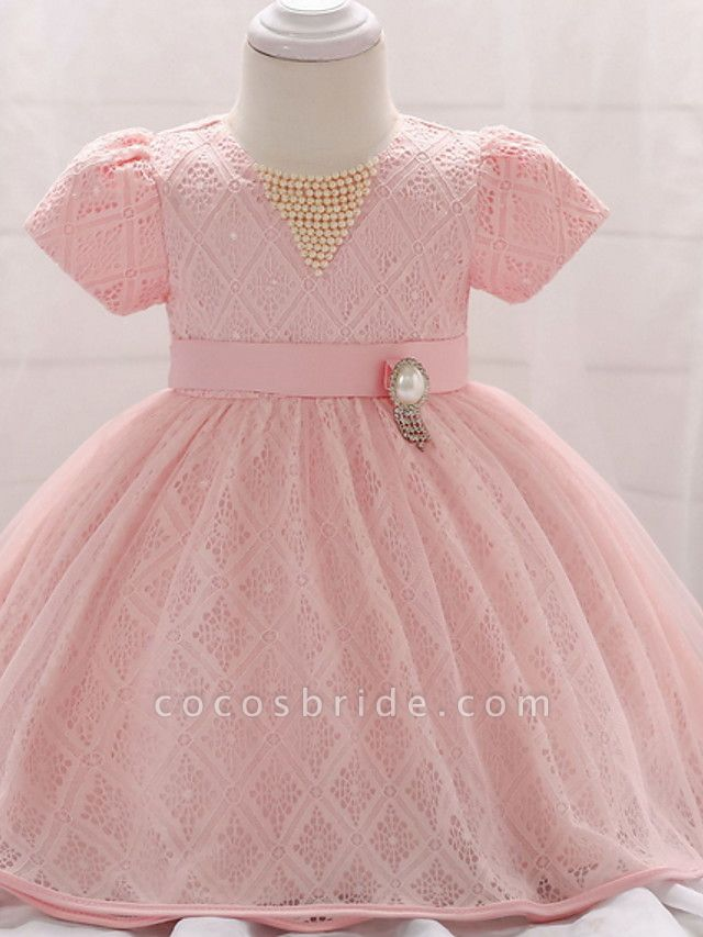 Ball Gown Floor Length Party / Birthday Flower Girl Dresses - Lace / Tulle Short Sleeve Jewel Neck With Belt / Beading