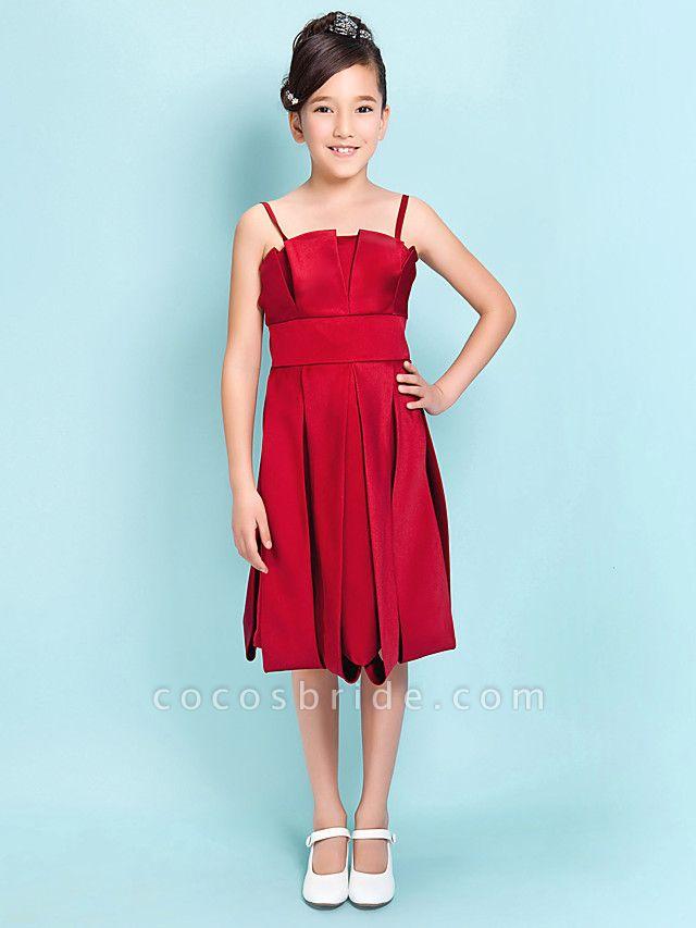 Princess / A-Line Spaghetti Strap Knee Length Satin Junior Bridesmaid Dress With Sash / Ribbon / Draping / Spring / Summer / Fall / Hourglass / Inverted Triangle