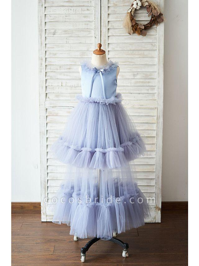Ball Gown Floor Length Wedding / Birthday Flower Girl Dresses - Satin / Tulle Sleeveless Jewel Neck With Bow(S)