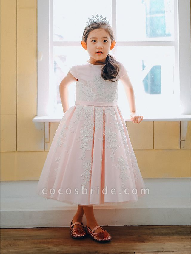 Ball Gown Tea Length Wedding / Birthday / Pageant Flower Girl Dresses - Lace / Satin Cap Sleeve Jewel Neck With Belt / Buttons / Appliques