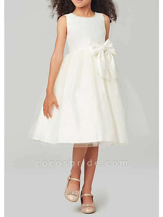 A-Line Knee Length Wedding / Party Flower Girl Dresses - Satin / Taffeta / Tulle Sleeveless Jewel Neck With Bow(S) / Solid