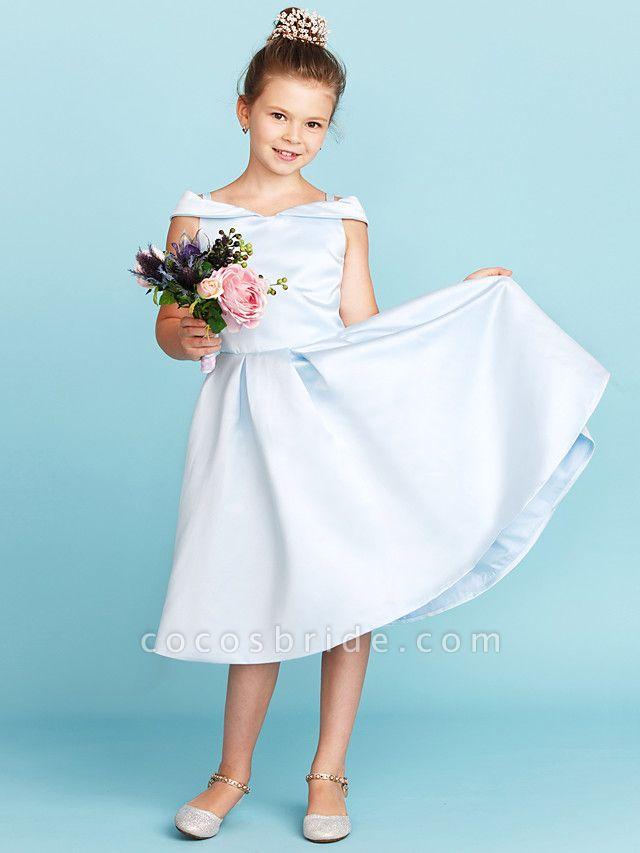 Princess / A-Line Off Shoulder Tea Length Satin Junior Bridesmaid Dress With Pleats