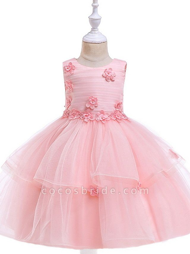 Ball Gown Floor Length Wedding / Party Flower Girl Dresses - Lace / Tulle Sleeveless Jewel Neck With Sash / Ribbon / Appliques