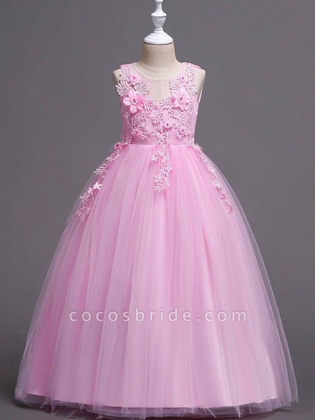 Princess / Ball Gown Floor Length Wedding / Party Flower Girl Dresses - Satin / Tulle Sleeveless Jewel Neck With Bow(S) / Appliques