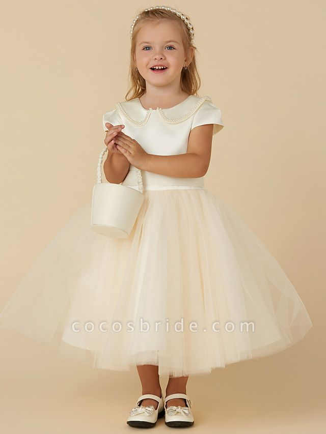 Ball Gown Tea Length Pageant Flower Girl Dresses - Satin / Tulle Short Sleeve Jewel Neck With Pearls / Beading