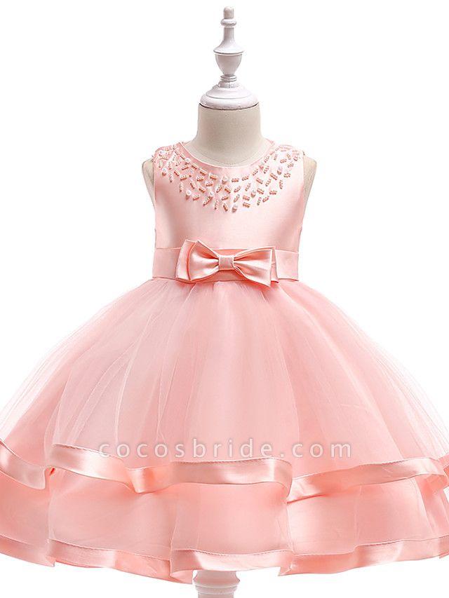 A-Line Knee Length Wedding / Birthday / Pageant Flower Girl Dresses - Cotton Blend Sleeveless Jewel Neck With Sash / Ribbon / Pearls / Trim