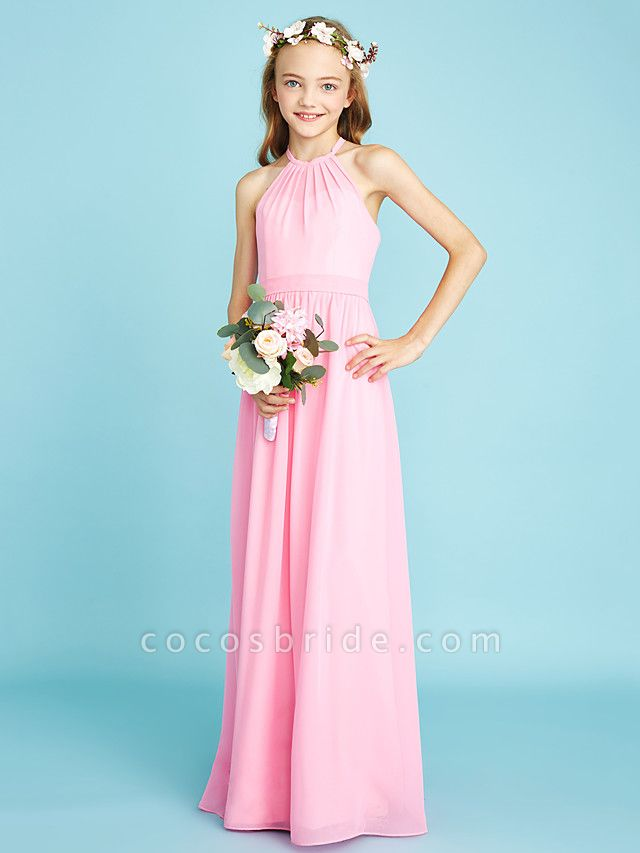 A-Line Halter Neck Floor Length Chiffon Junior Bridesmaid Dress With Sash / Ribbon / Natural