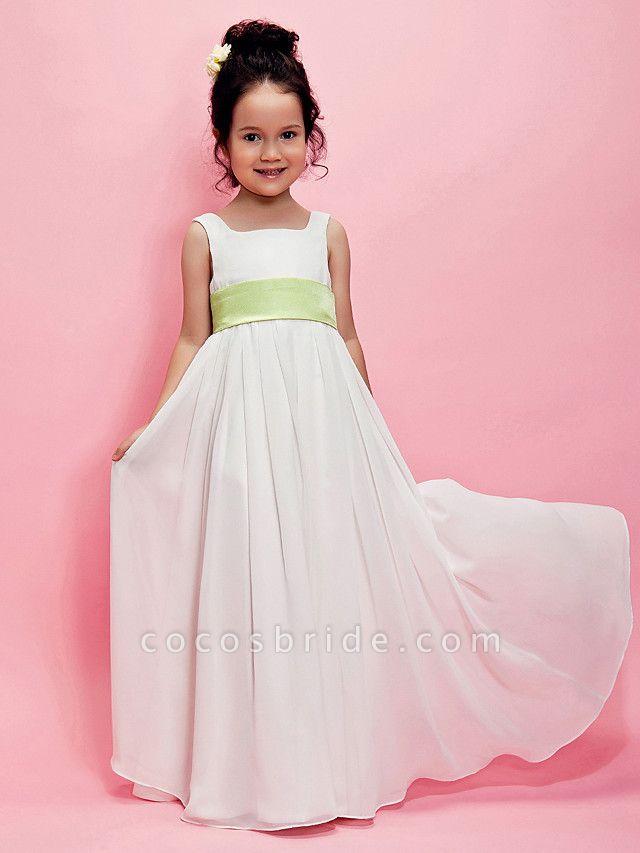 Princess / A-Line Floor Length Wedding Party Chiffon Sleeveless Square Neck With Sash / Ribbon / Draping / Spring / Summer / Fall