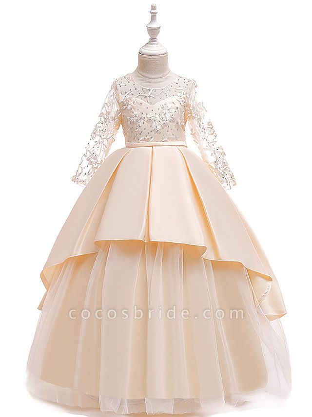 Princess Floor Length Wedding / Party / Pageant Flower Girl Dresses - Lace / Satin / Tulle Long Sleeve Jewel Neck With Lace / Belt / Crystals