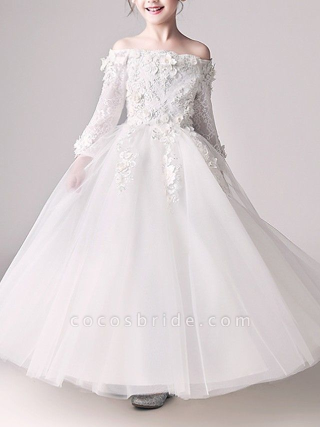 Ball Gown Floor Length First Communion Flower Girl Dresses - Polyester 3/4 Length Sleeve Off Shoulder With Appliques
