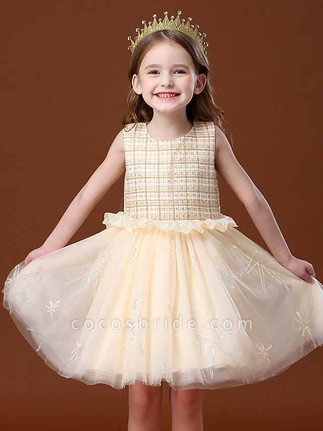 Princess / Ball Gown Knee Length Wedding / Party Flower Girl Dresses - Tulle Sleeveless Jewel Neck With Ruffles / Splicing