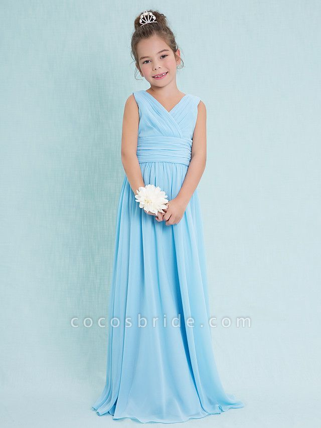 Sheath / Column V Neck Floor Length Chiffon Junior Bridesmaid Dress With Criss Cross / Ruched / Natural