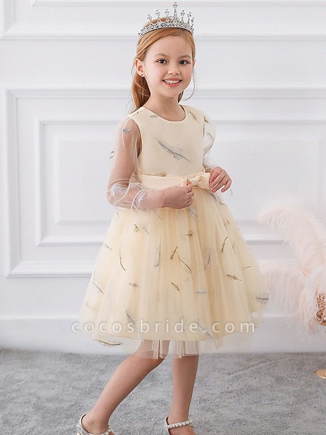 Princess / Ball Gown Knee Length Wedding / Party Flower Girl Dresses - Tulle Long Sleeve Jewel Neck With Sash / Ribbon / Bow(S) / Pattern / Print