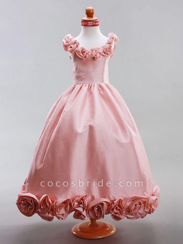 A-Line / Princess Floor Length Flower Girl Dress - Taffeta Sleeveless Scoop Neck With Draping / Flower By Lan Ting Bride? / Spring / Summer / Fall / Winter / Wedding Party