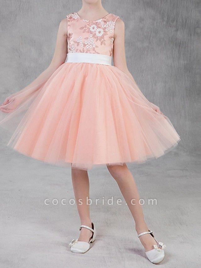 A-Line Knee Length Pageant Flower Girl Dresses - Polyester Sleeveless Jewel Neck With Appliques