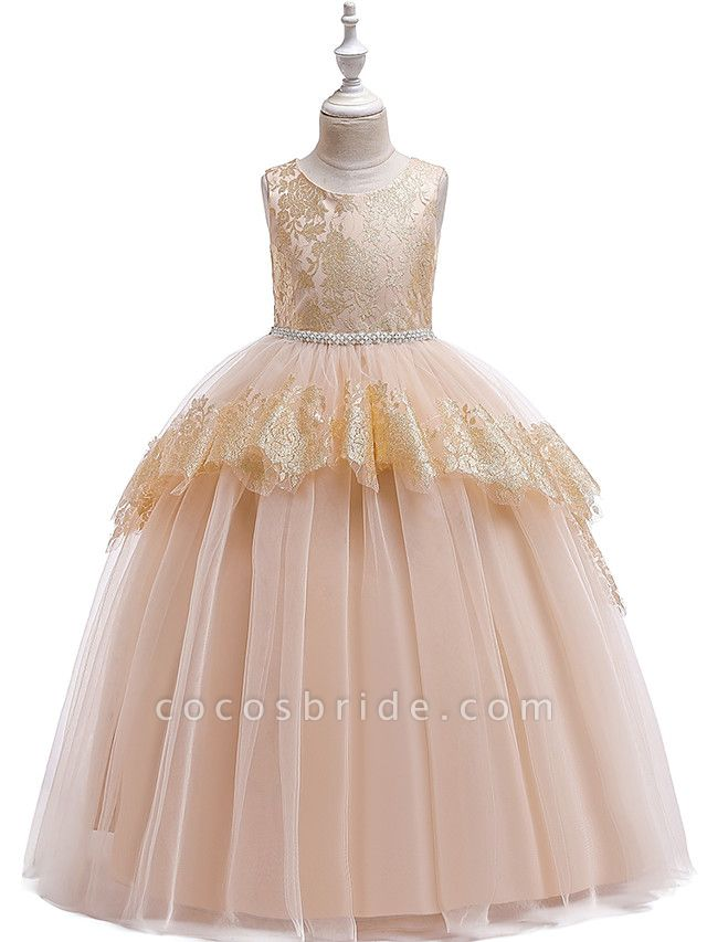 Princess Floor Length Wedding / Party / Pageant Flower Girl Dresses - Lace / Satin / Tulle Sleeveless Jewel Neck With Belt / Crystals / Beading