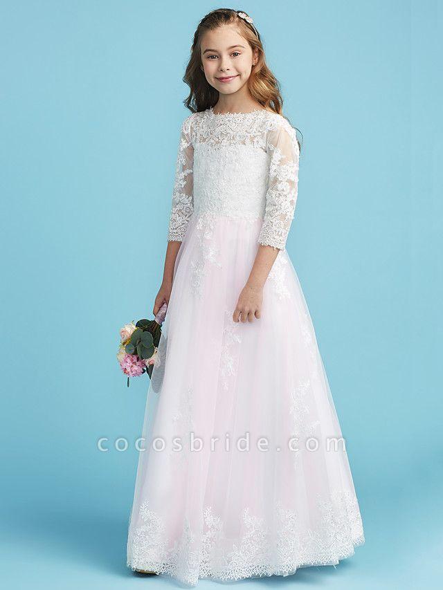 Princess / A-Line Crew Neck Floor Length Lace Junior Bridesmaid Dress With Lace