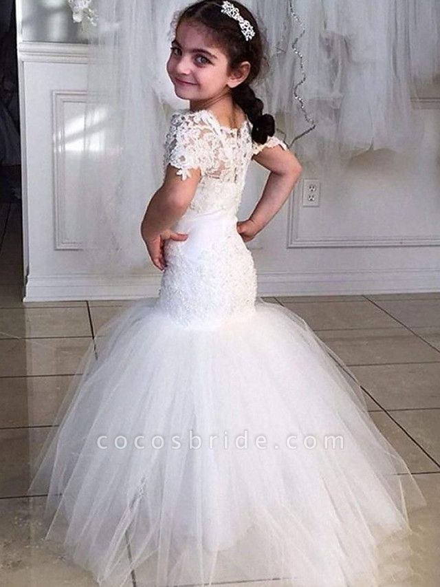 Mermaid / Trumpet Sweep / Brush Train Wedding Flower Girl Dresses - Tulle Short Sleeve Jewel Neck With Appliques / Solid