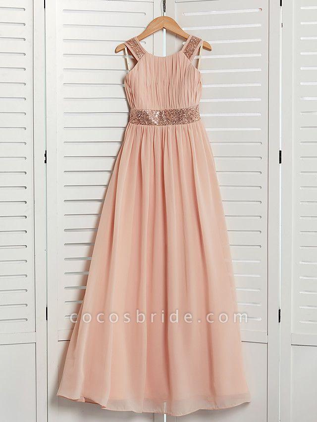 A-Line Jewel Neck Maxi Chiffon Junior Bridesmaid Dress With Lace / Sash / Ribbon