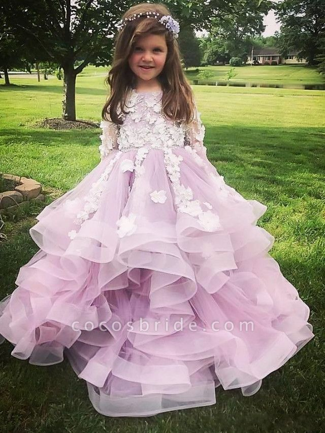 Ball Gown Sweep / Brush Train Wedding Flower Girl Dresses - Polyester Long Sleeve Jewel Neck With Tier / Appliques / Solid